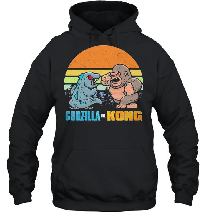 Chibi Godzilla Vs Kong Movie 2021 Vintage Retro shirt Unisex Hoodie