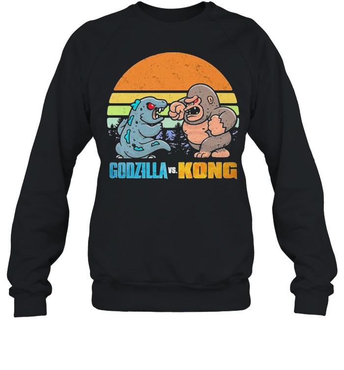 Chibi Godzilla Vs Kong Movie 2021 Vintage Retro shirt Unisex Sweatshirt