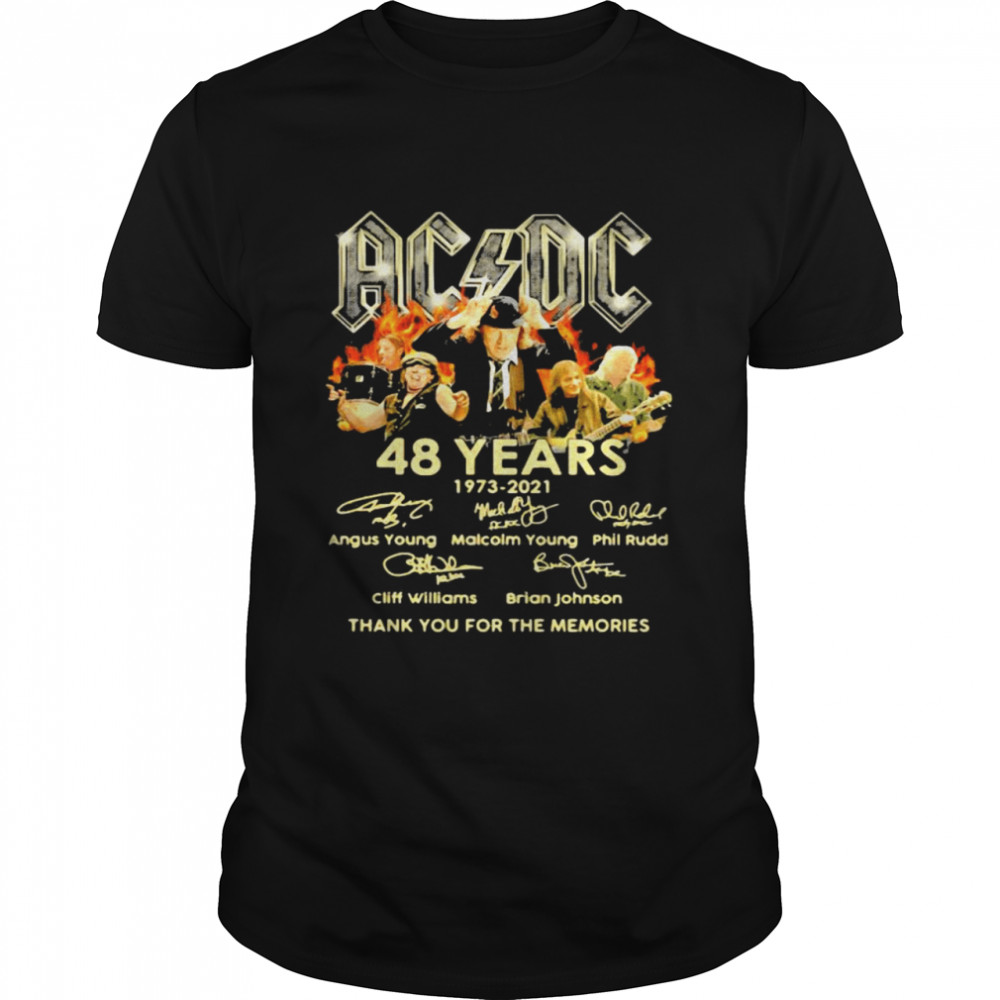 AC Dc 48 years 1973 2021 thank you for the memories signature shirt Classic Men's T-shirt