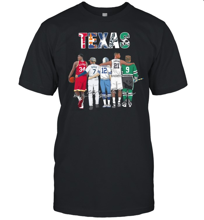 Texas Sport Teams With 34 Olajuwon 7 Biggio 12 Staubach 21 Duncan And 9 Modano Signatures shirt Classic Men's T-shirt