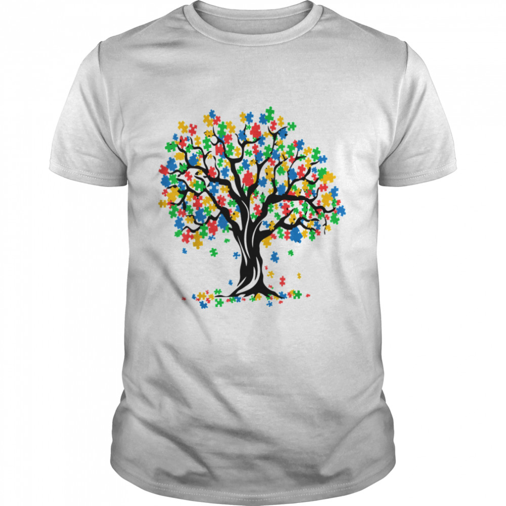 Tree Of Life Autism Awareness Month ASD Supporter  Classic Men's T-shirt