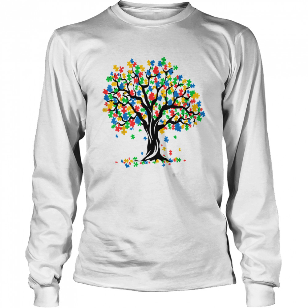 Tree Of Life Autism Awareness Month ASD Supporter Long Sleeved T-shirt