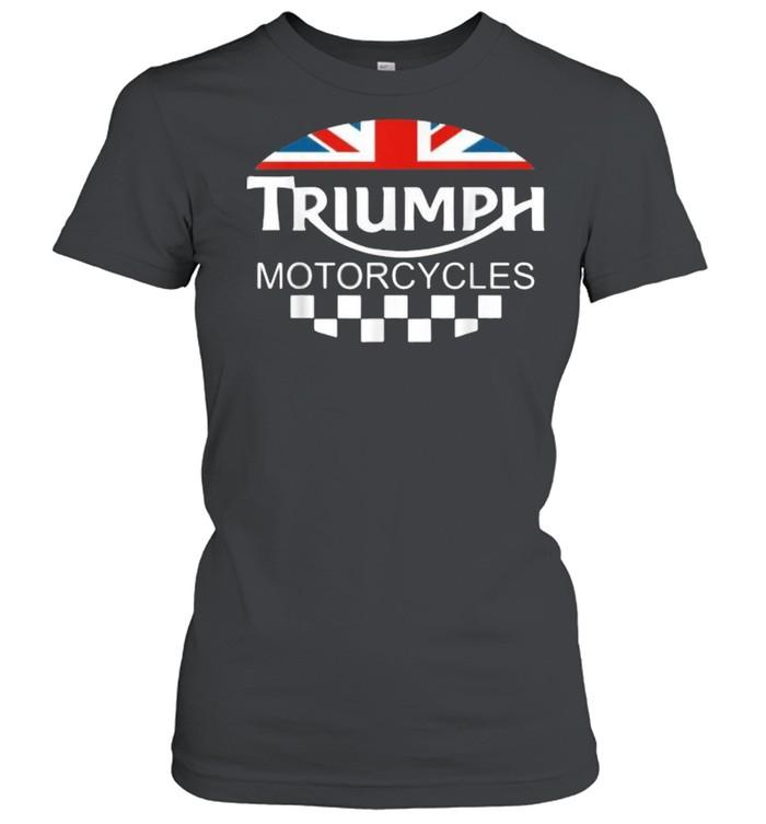 Motorcycle Triumph Biker Uk United Kingdom Flag  Classic Women's T-shirt