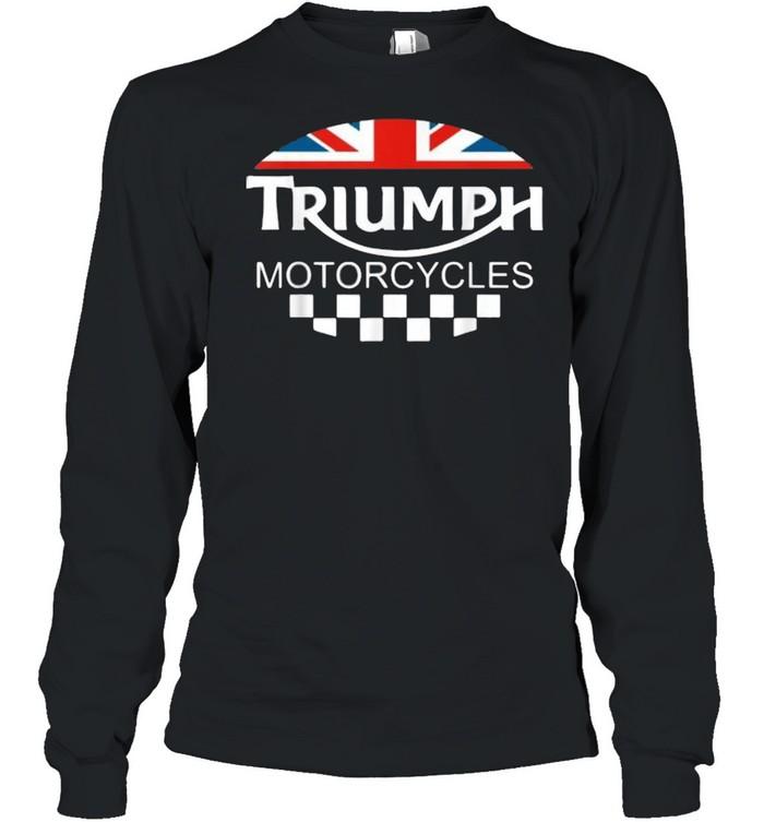 Motorcycle Triumph Biker Uk United Kingdom Flag  Long Sleeved T-shirt
