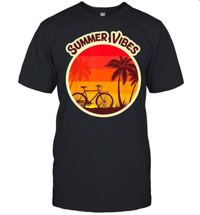 Summer Vibes Beach Sunset Bicycle and Palm Tree shirt Classic Men's T-shirt