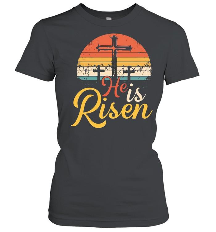 Cross He Is Risen Vintage shirt Classic Women's T-shirt