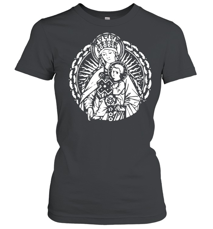 Mary Queen Mother and Child Jesus Vintage Art Catholic  Classic Women's T-shirt