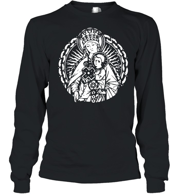 Mary Queen Mother and Child Jesus Vintage Art Catholic  Long Sleeved T-shirt