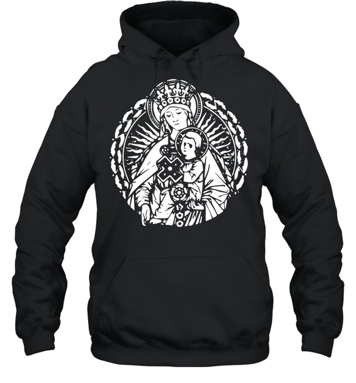 Mary Queen Mother and Child Jesus Vintage Art Catholic  Unisex Hoodie