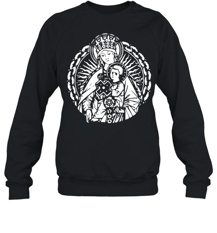Mary Queen Mother and Child Jesus Vintage Art Catholic  Unisex Sweatshirt