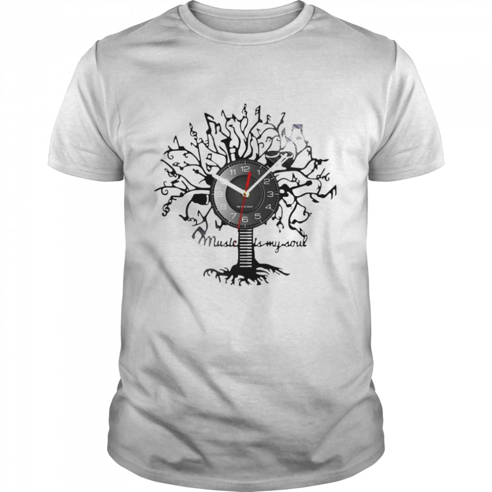Music Is My Soul Tree Wall Clock T-shirt Classic Men's T-shirt