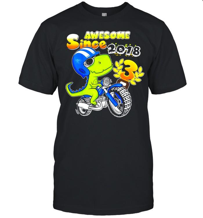 Kids 3rd Birthday  3 Year Old Dirt Bike Boy Party Dinosaur shirt Classic Men's T-shirt