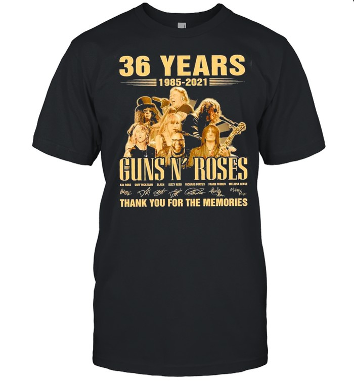 36 Years 1985 2021 Ofthe Guns N' Roses Signatures Thank You For The Memories shirt Classic Men's T-shirt