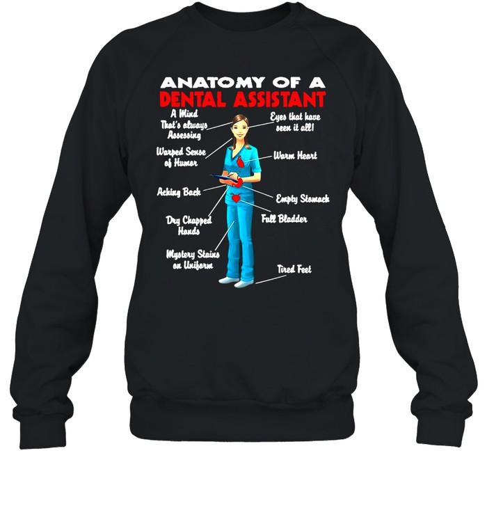 Anatomy Of A Dental Assistant Funny Black T-shirt Unisex Sweatshirt