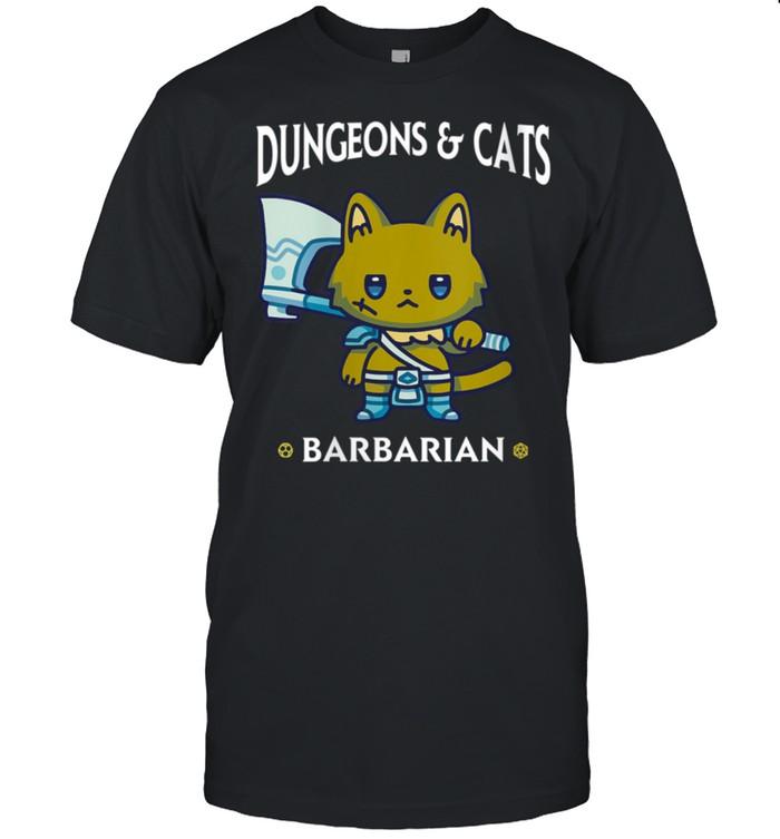 Dungeons and Cats Barbarian RPG D20 Dice Fantasy Gamer Cat shirt Classic Men's T-shirt