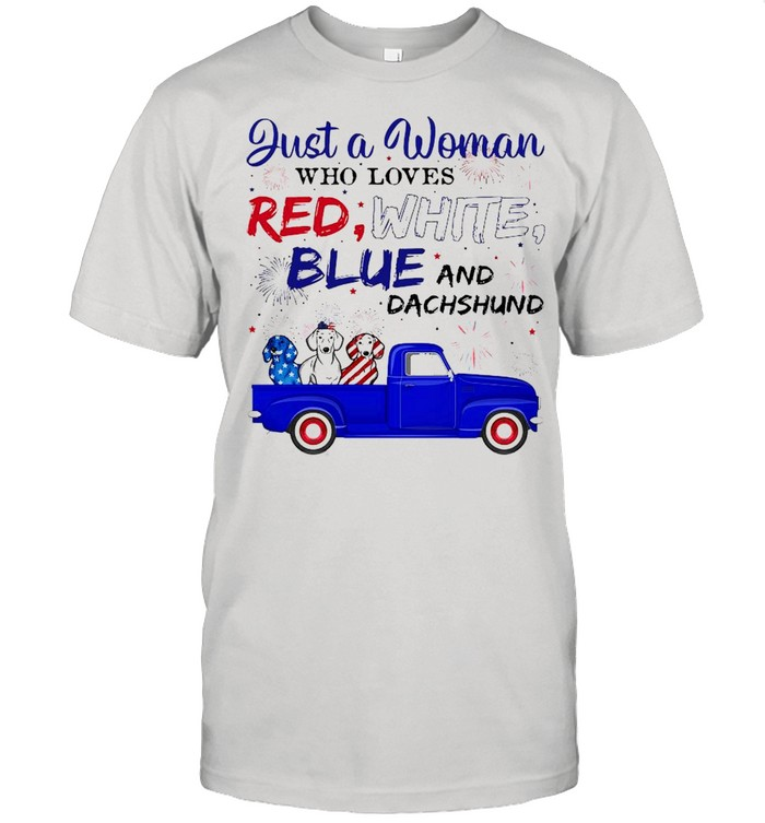 Just A Woman Who Loves Red White Blue And Dachshund shirt Classic Men's T-shirt