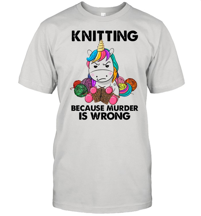 Knitting Unicorn Because Murder Is Wrong shirt Classic Men's T-shirt