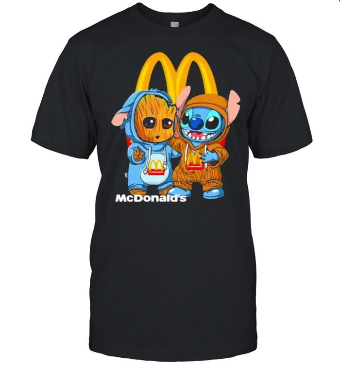 Mcdonalds Logo Baby Groot And Baby Stitch  Classic Men's T-shirt