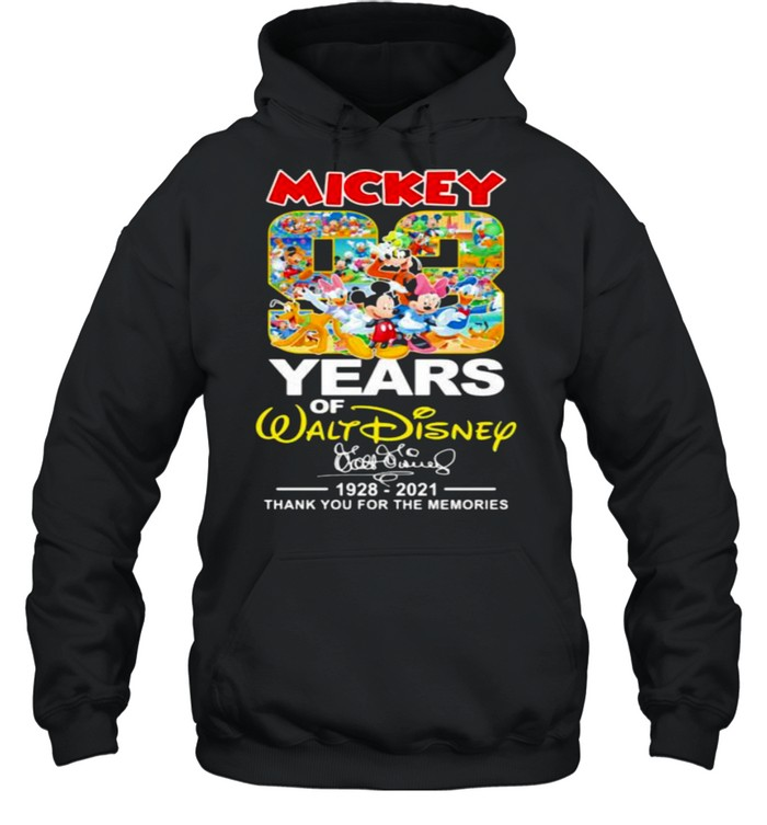 Mickey 83 Years Of Walt Disney 1928 2021 Thank You For The Memories Signature Unisex Hoodie