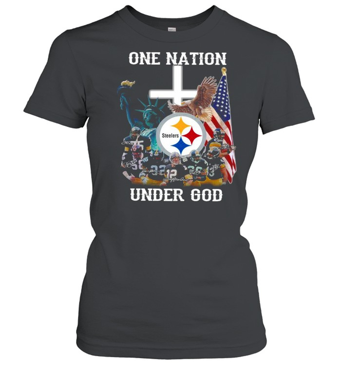 Pittsburgh Steelers one nation under god signatures shirt Classic Women's T-shirt