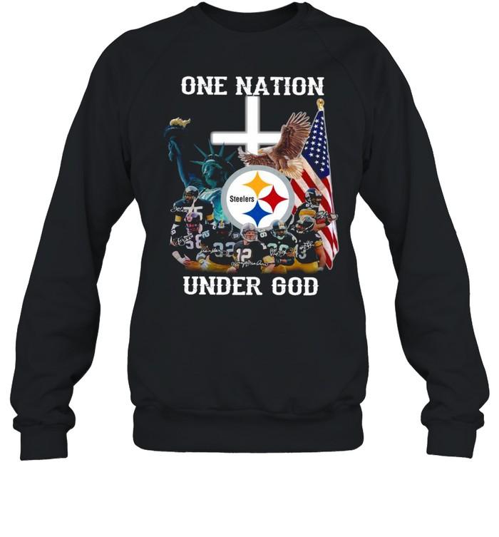 Pittsburgh Steelers one nation under god signatures shirt Unisex Sweatshirt