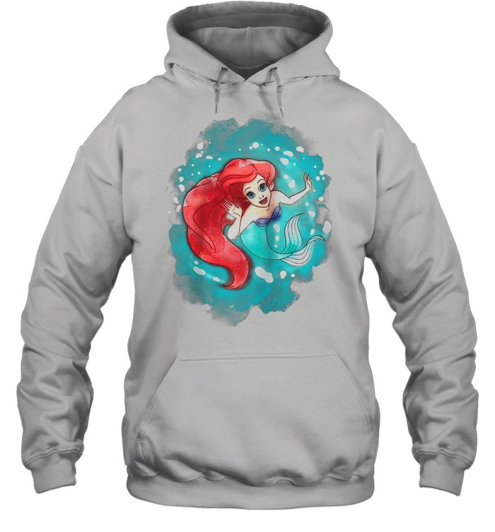 The Little Mermaid Ariel Watercolor Swimming shirt Unisex Hoodie