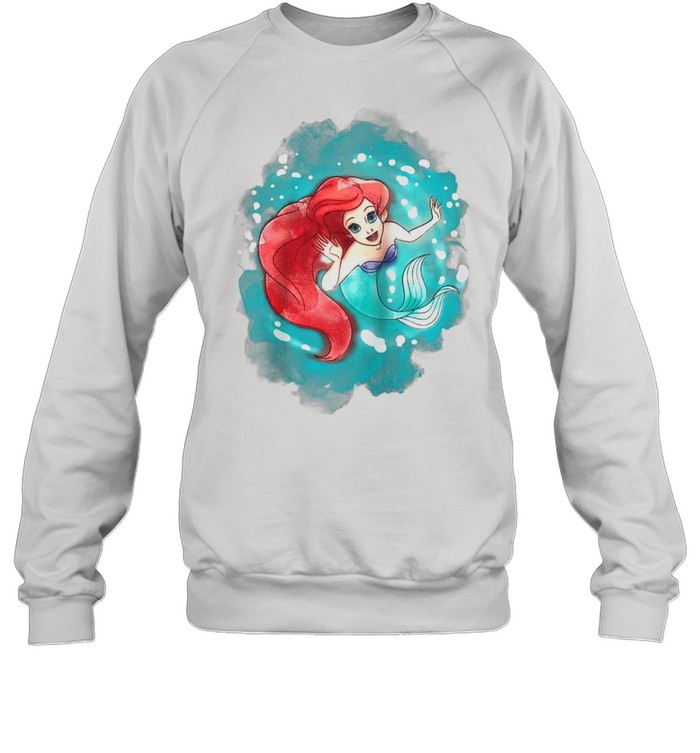 The Little Mermaid Ariel Watercolor Swimming shirt Unisex Sweatshirt