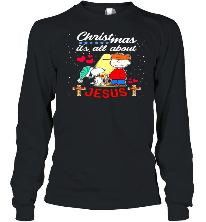 Christmas Its All About Jesus Snoopy Charlie Long Sleeved T-shirt
