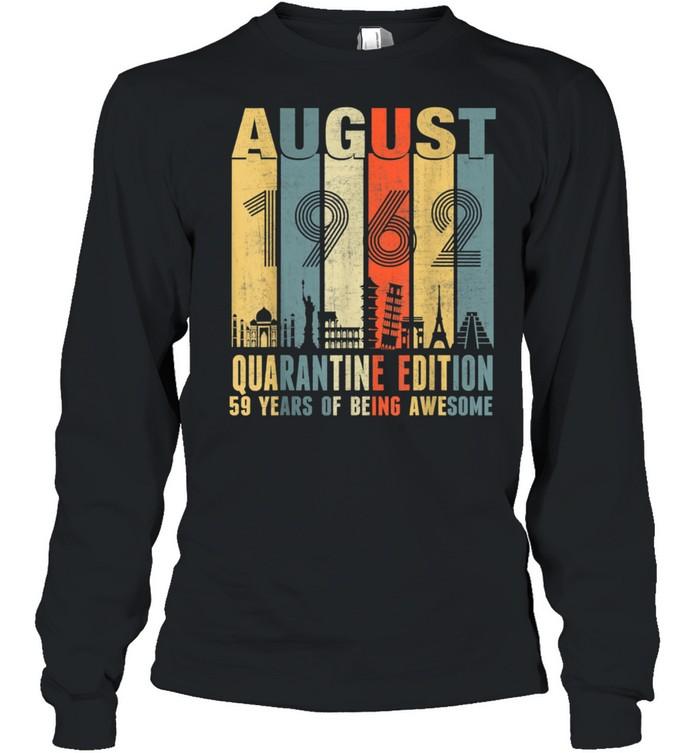 August 1962 59th Birthday Vintage shirt Long Sleeved T-shirt