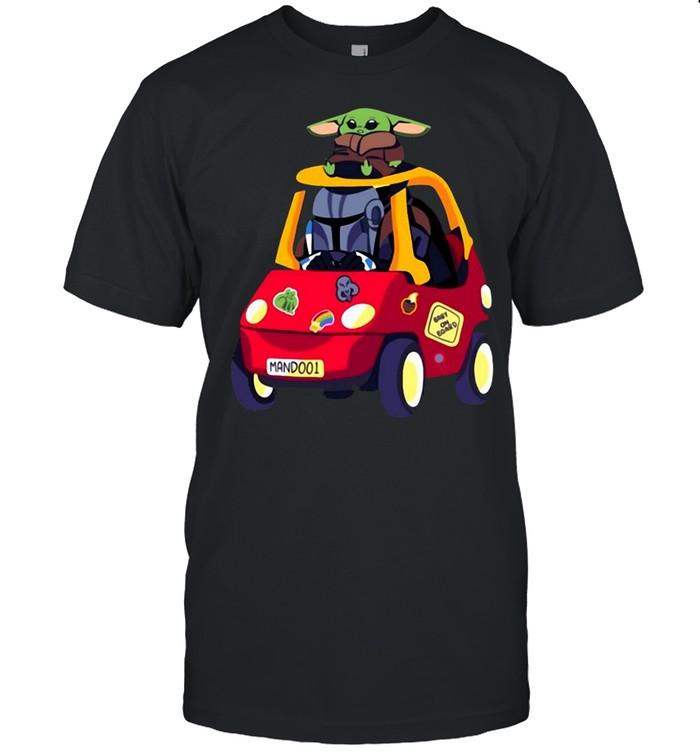 Cute Baby Yoda On Car Gift Baby On Board  Classic Men's T-shirt