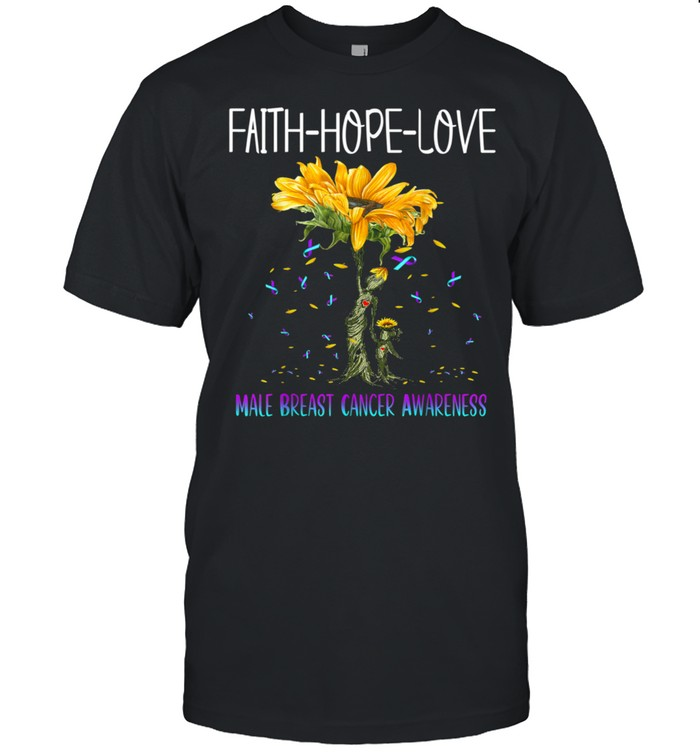 Faith Hope Love Male Breast Cancer Awareness shirt Classic Men's T-shirt