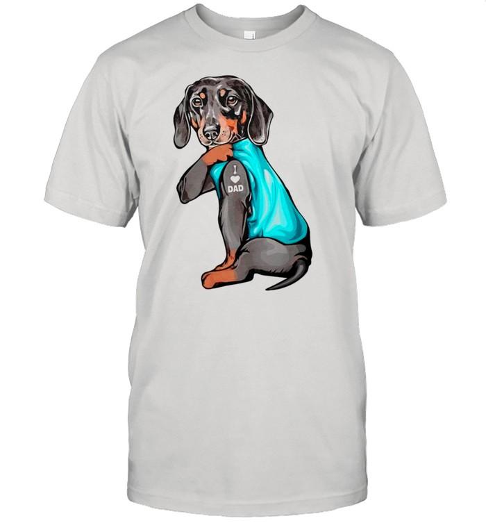 Father's Day 2021 – Dachshund Tattoo I Love Dad shirt Classic Men's T-shirt