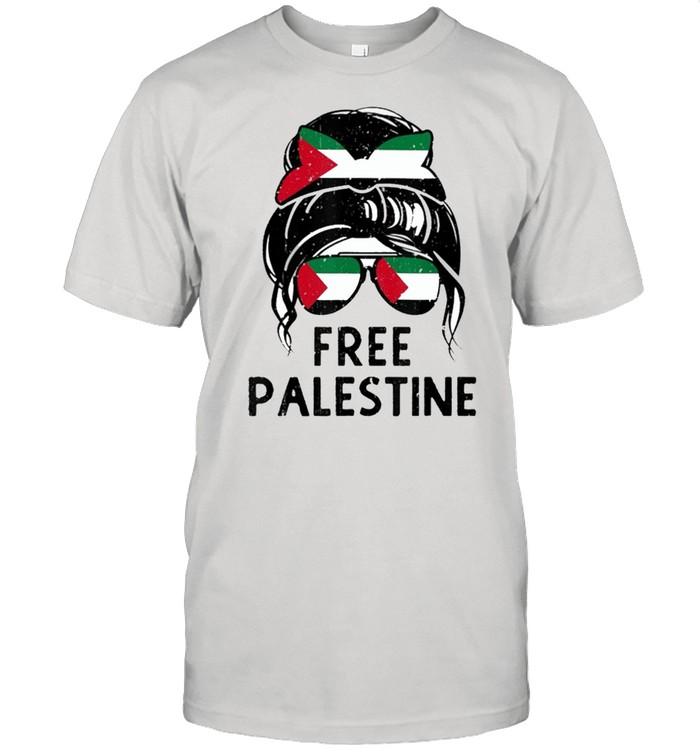Free palestine flag save gaza strip and messy hair bun shirt Classic Men's T-shirt