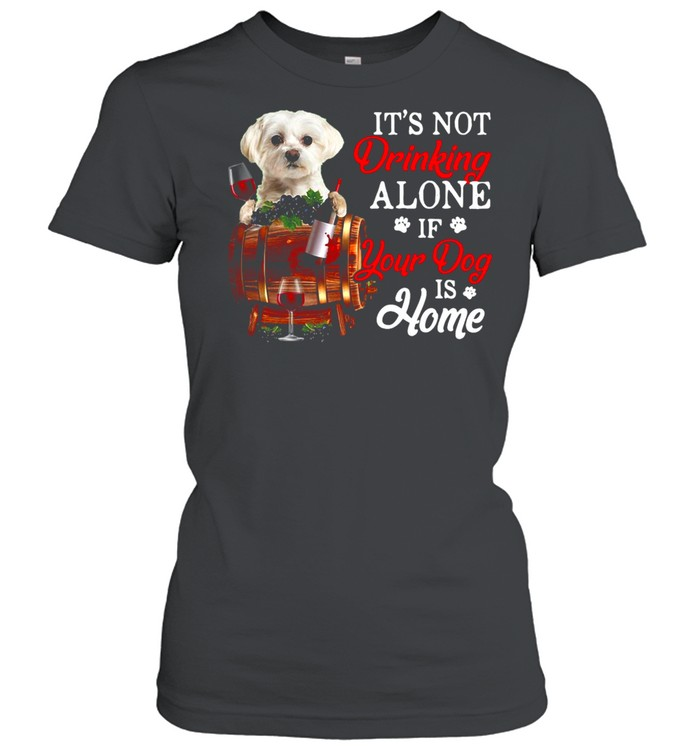 It's Not Drinking Alone If Your Dog Is Home T-shirt Classic Women's T-shirt
