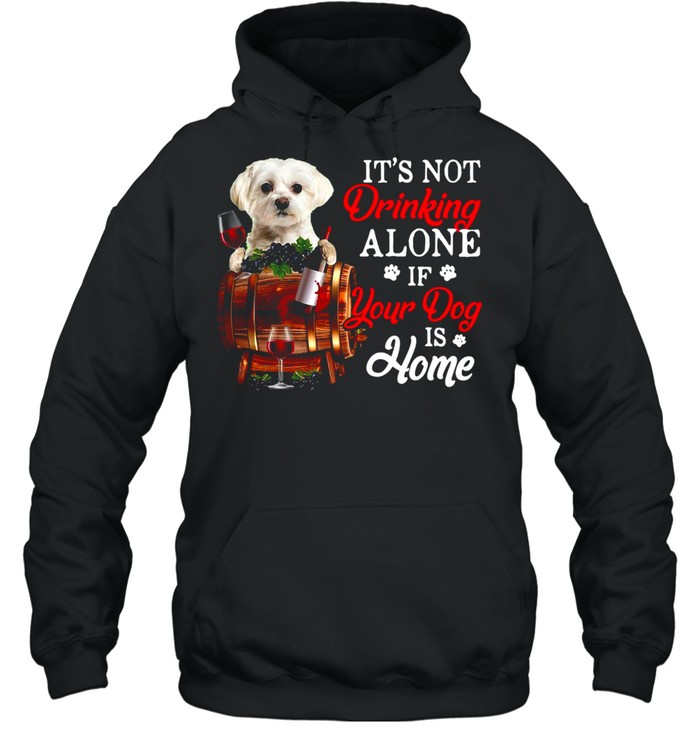 It's Not Drinking Alone If Your Dog Is Home T-shirt Unisex Hoodie