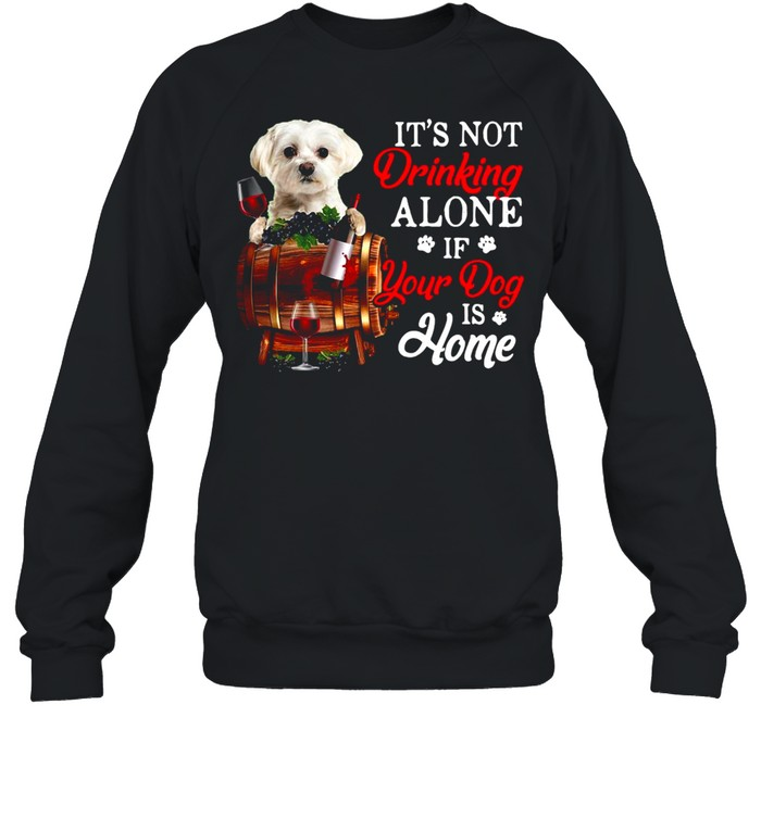 It's Not Drinking Alone If Your Dog Is Home T-shirt Unisex Sweatshirt