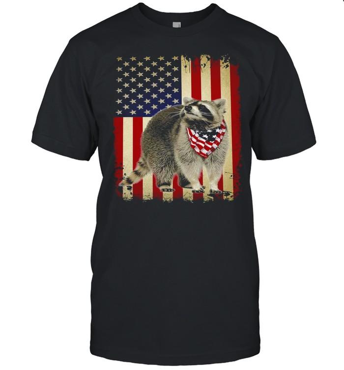 American Flag Raccoon Smile T-shirt Classic Men's T-shirt