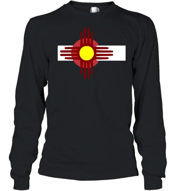 Colorado New Mexico  Flag Zia T-shirt Long Sleeved T-shirt