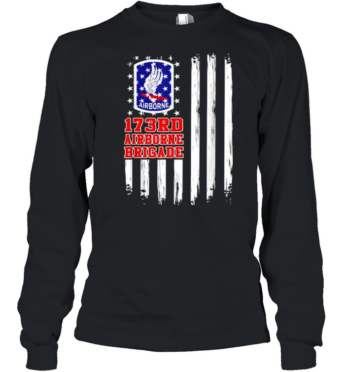 173rd Airborne Brigade American Flag T- Long Sleeved T-shirt