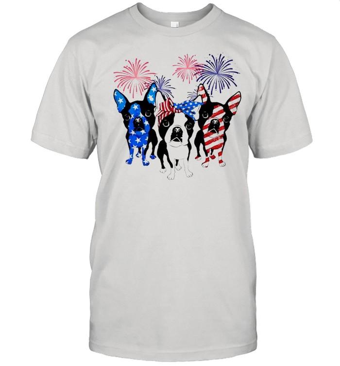 Boston Terrier red white blue firework 4th of July shirt Classic Men's T-shirt