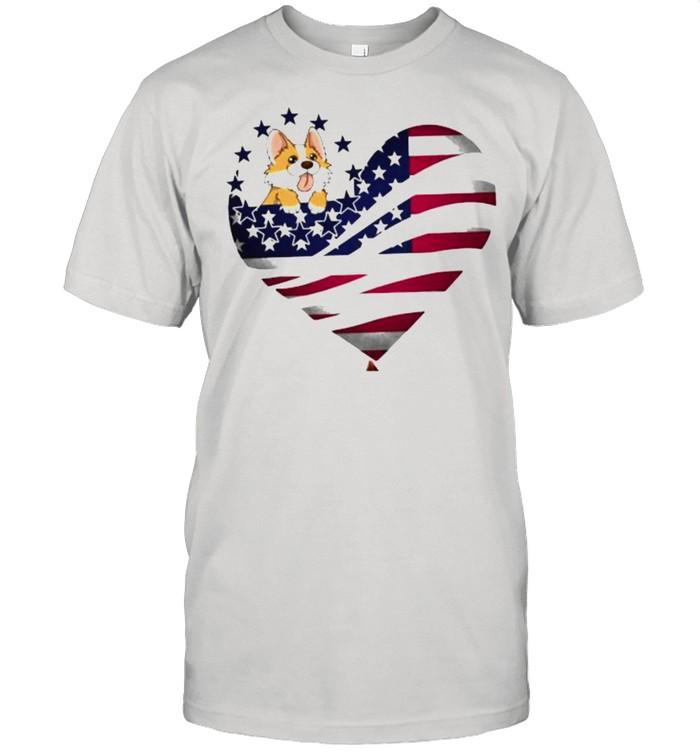 Corgi Heart Of American Flag  Classic Men's T-shirt