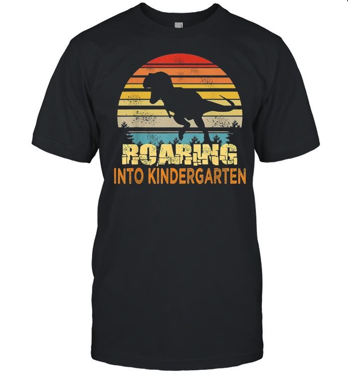 Dinosaurs roaring into kindergarten vintage shirt Classic Men's T-shirt