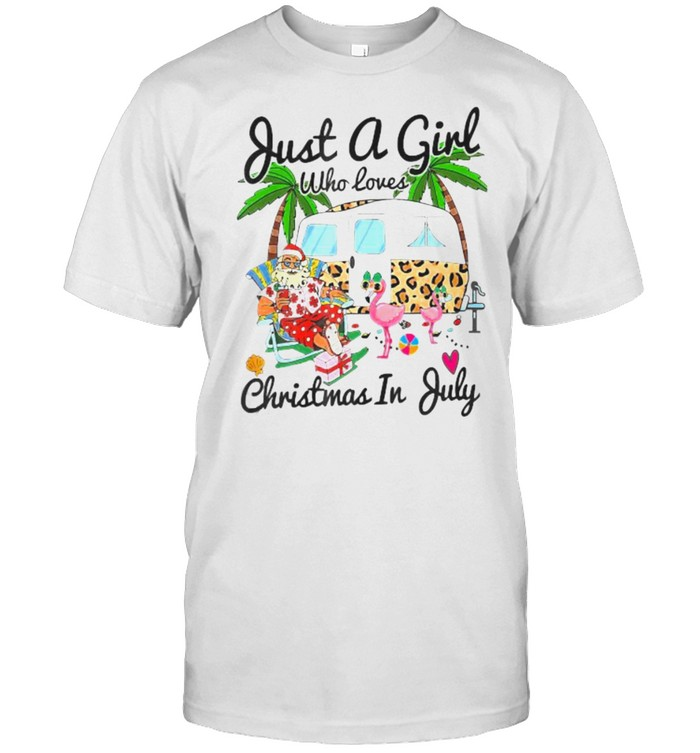 Just A Girl Who Loves Christmas In July Camping Flamingo  Classic Men's T-shirt