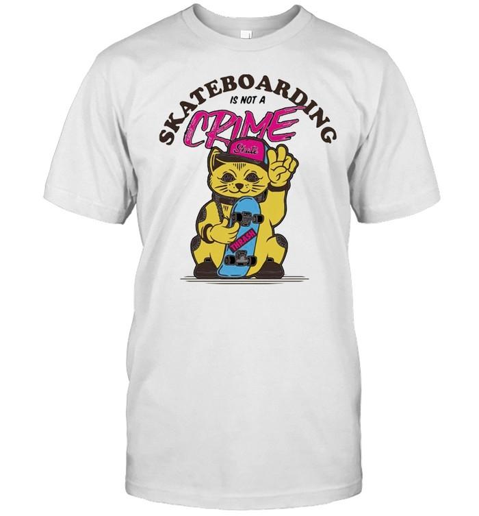 Cat skate skateboarding is not a crime shirt Classic Men's T-shirt