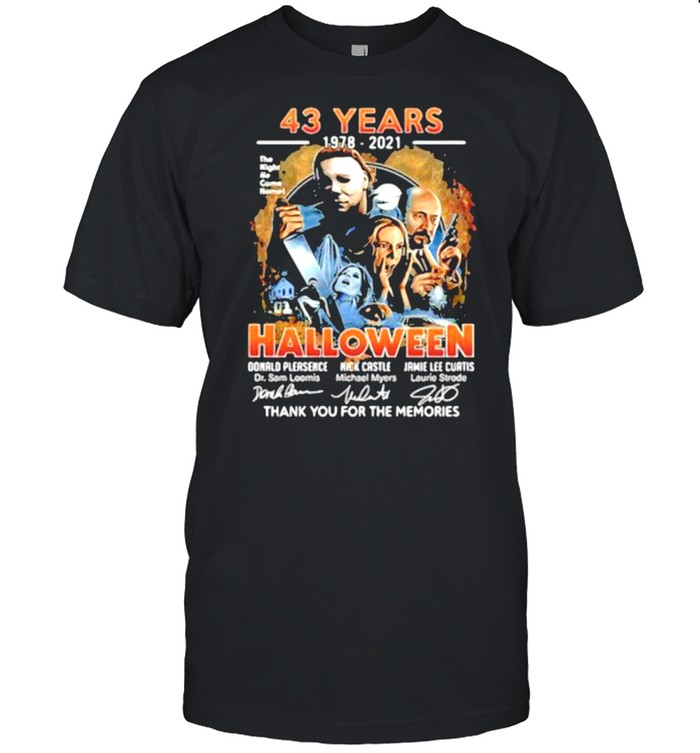 43 years 1978 2021 halloween thank you for the memories signatures shirt Classic Men's T-shirt