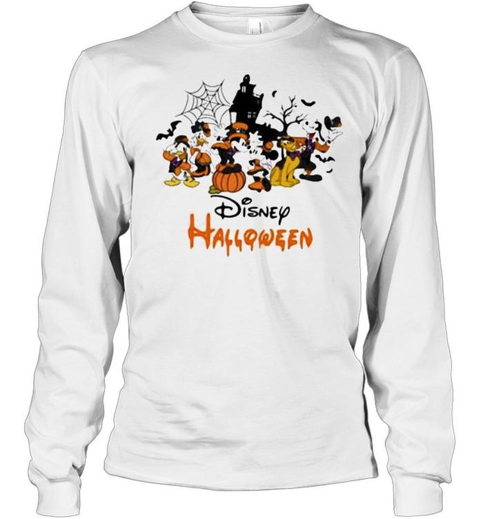 Disney halloween pumpkin mickey minnie donald duck shirt Long Sleeved T-shirt