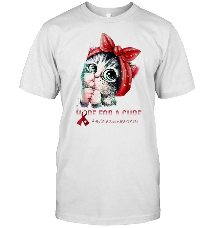 Awesome amyloidosis Awareness Hope For A Cure Cat T- Classic Men's T-shirt