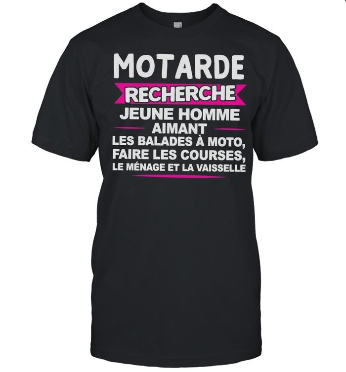 Motarde Recherche Jeune Homme Aimant Les Balades À Moto Faire Les Courses T-shirt Classic Men's T-shirt