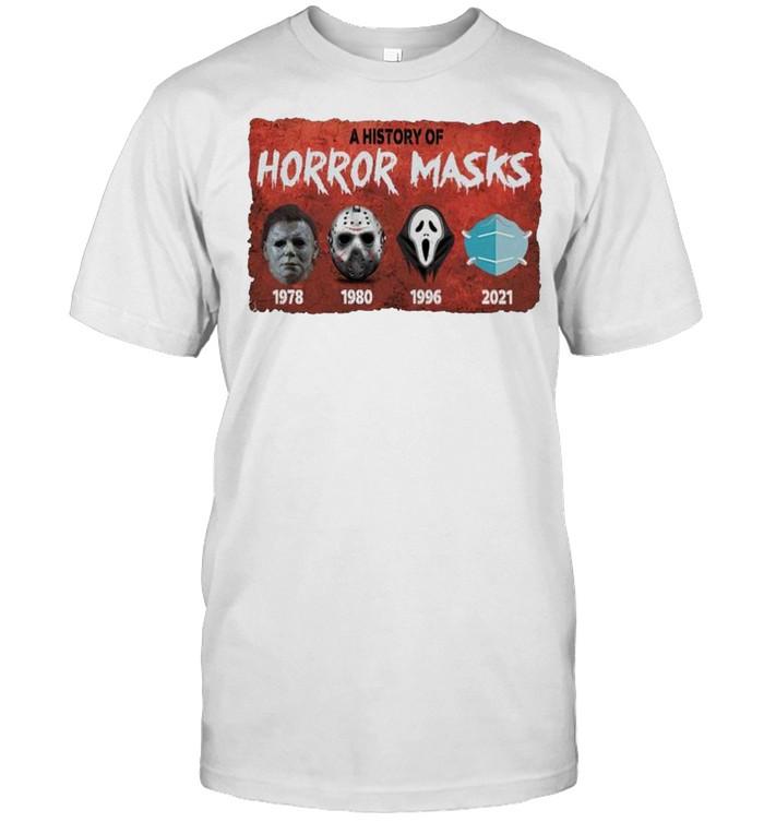 A history of horror masks 2021 face mask shirt Classic Men's T-shirt