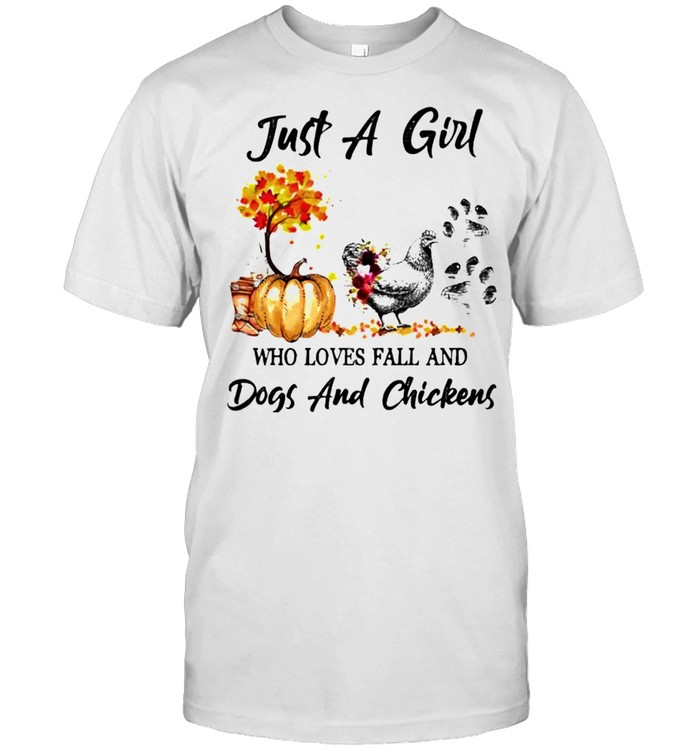 Just a girl who loves fall and dogs and chickens shirt Classic Men's T-shirt
